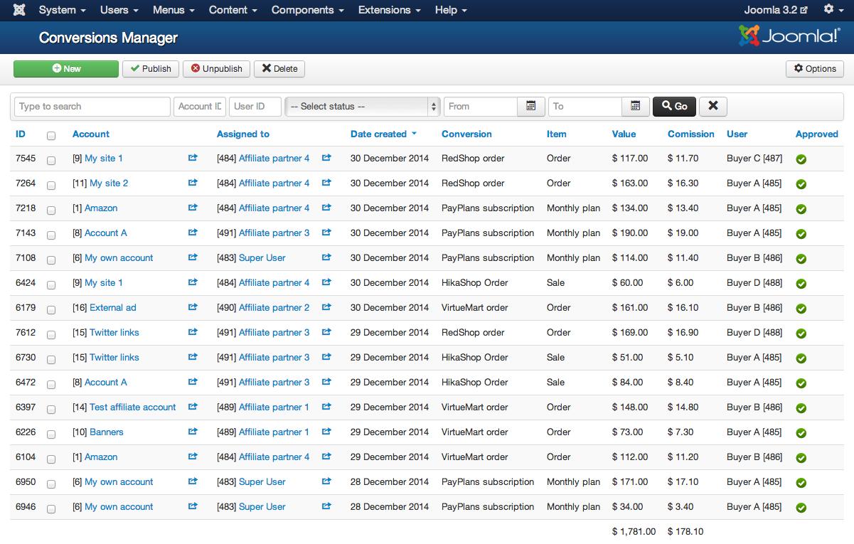 Affiliate Tracker || Affiliate Program, Comissions, Logs - JoomlaThat!