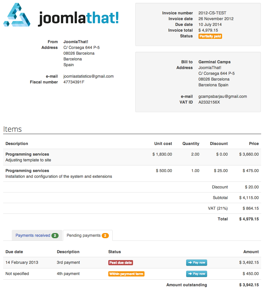 Invoice Manager Invoice Billing Creator Manager JoomlaThat - How to email an invoice