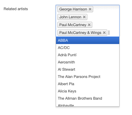 Choosing the related artists in the backend